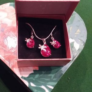 Necklace and earrings combo pink gem/butterfly